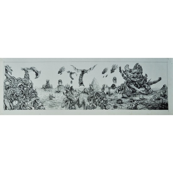Zerg attack! Original ink artwork