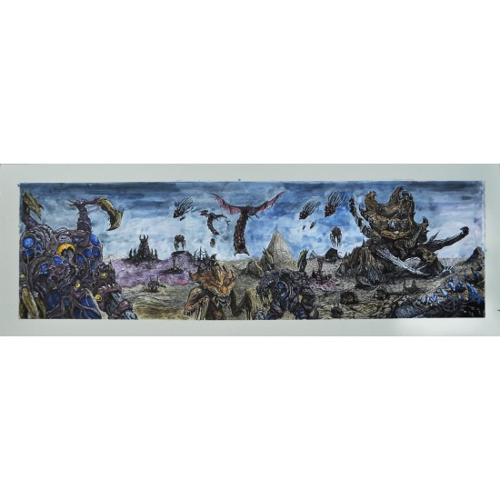 Zerg attack! Original Watercolour artwork